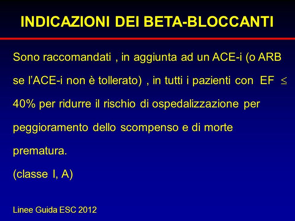 INDICAZIONI DEI BETA-BLOCCANTI Sono raccomandati, in aggiunta ad un ACE-i (o ARB se lACE-i non è tollerato), in tutti i pazienti con EF 40% per ridurr