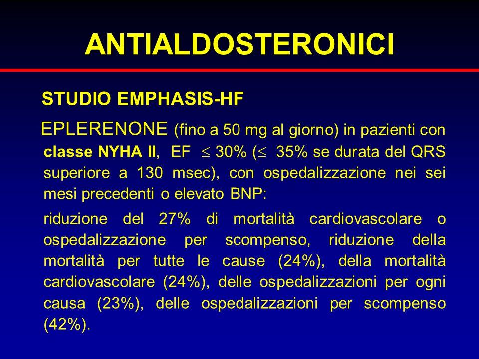 ANTIALDOSTERONICI STUDIO EMPHASIS-HF EPLERENONE (fino a 50 mg al giorno) in pazienti con classe NYHA II, EF 30% ( 35% se durata del QRS superiore a 13