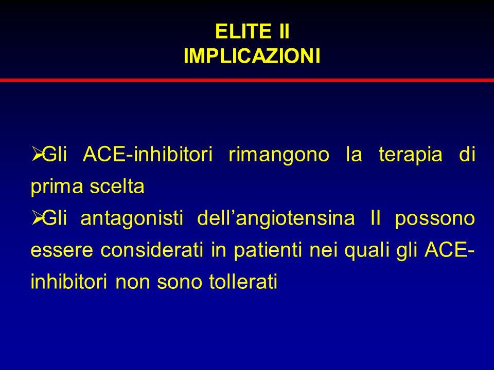 ELITE II IMPLICAZIONI Gli ACE-inhibitori rimangono la terapia di prima scelta Gli antagonisti dellangiotensina II possono essere considerati in patien