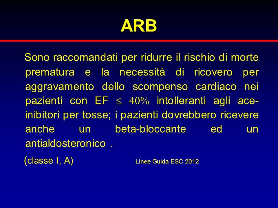 ARB Sono raccomandati per ridurre il rischio di morte prematura e la necessità di ricovero per aggravamento dello scompenso cardiaco nei pazienti con