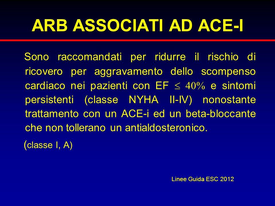 ARB ASSOCIATI AD ACE-I Sono raccomandati per ridurre il rischio di ricovero per aggravamento dello scompenso cardiaco nei pazienti con EF 40% e sintom
