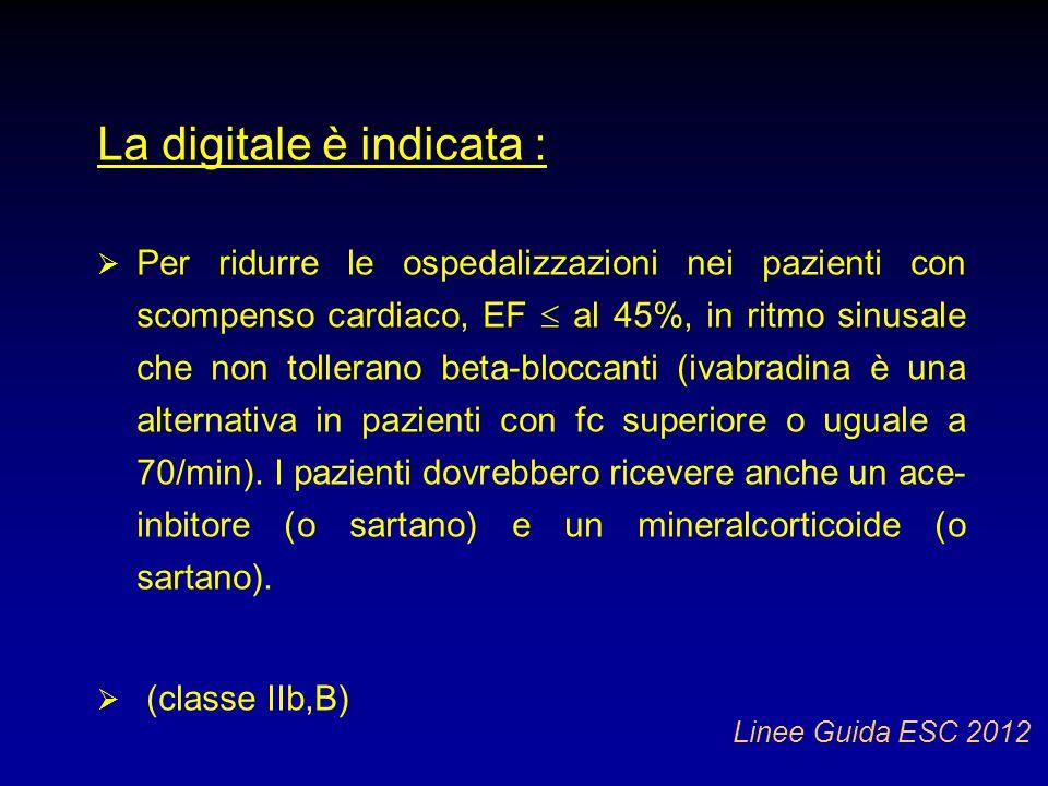 La digitale è indicata : Per ridurre le ospedalizzazioni nei pazienti con scompenso cardiaco, EF al 45%, in ritmo sinusale che non tollerano beta-bloc