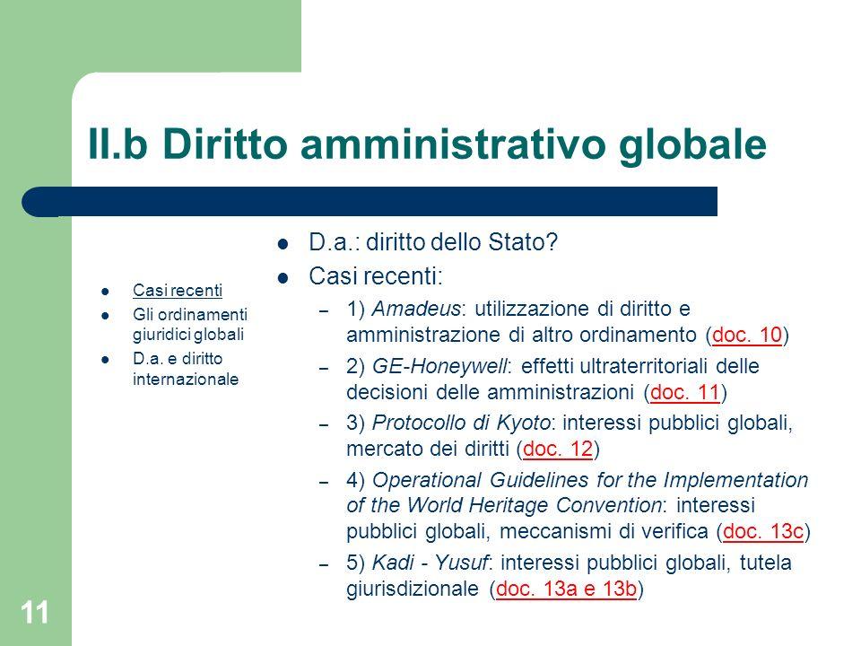 11 II.b Diritto amministrativo globale Casi recenti Gli ordinamenti giuridici globali D.a. e diritto internazionale D.a.: diritto dello Stato? Casi re