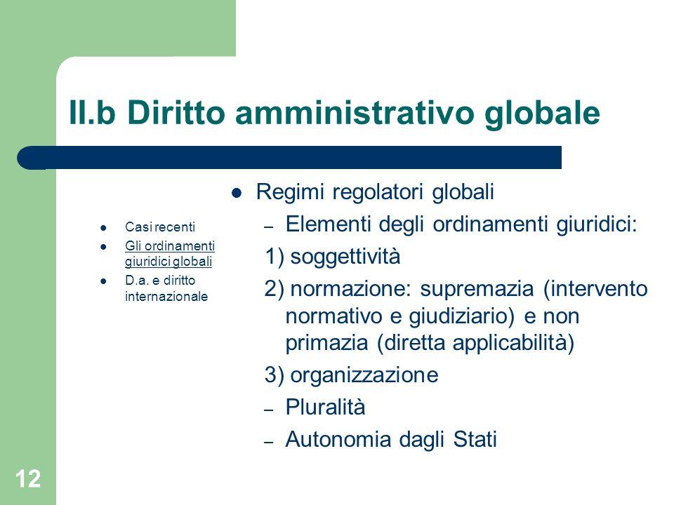 12 II.b Diritto amministrativo globale Casi recenti Gli ordinamenti giuridici globali D.a. e diritto internazionale Regimi regolatori globali – Elemen