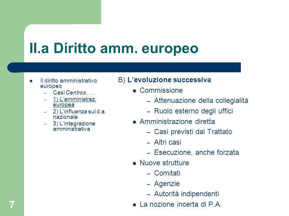7 II.a Diritto amm. europeo Il diritto amministrativo europeo – Casi Centros, … – 1) Lamministraz. europea – 2) Linfluenza sul d.a. nazionale – 3) Lin