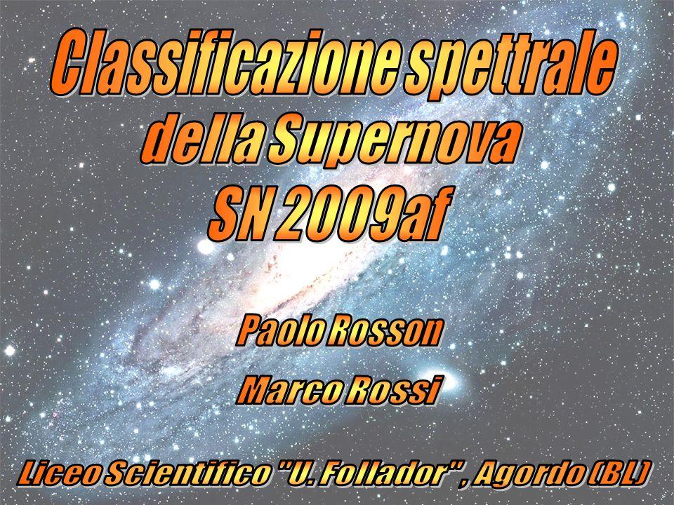 Abbiamo sovrapposto lo spettro della SN2009af (rosso) con quello della SN 1993J (bianco) del 21 aprile.