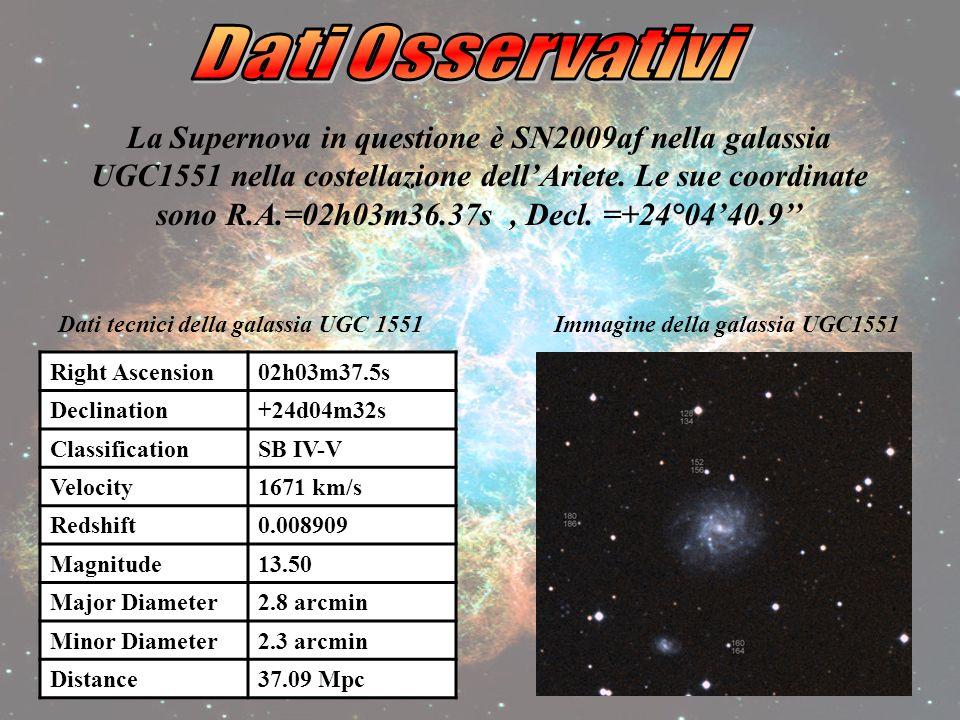 La Supernova in questione è SN2009af nella galassia UGC1551 nella costellazione dellAriete.