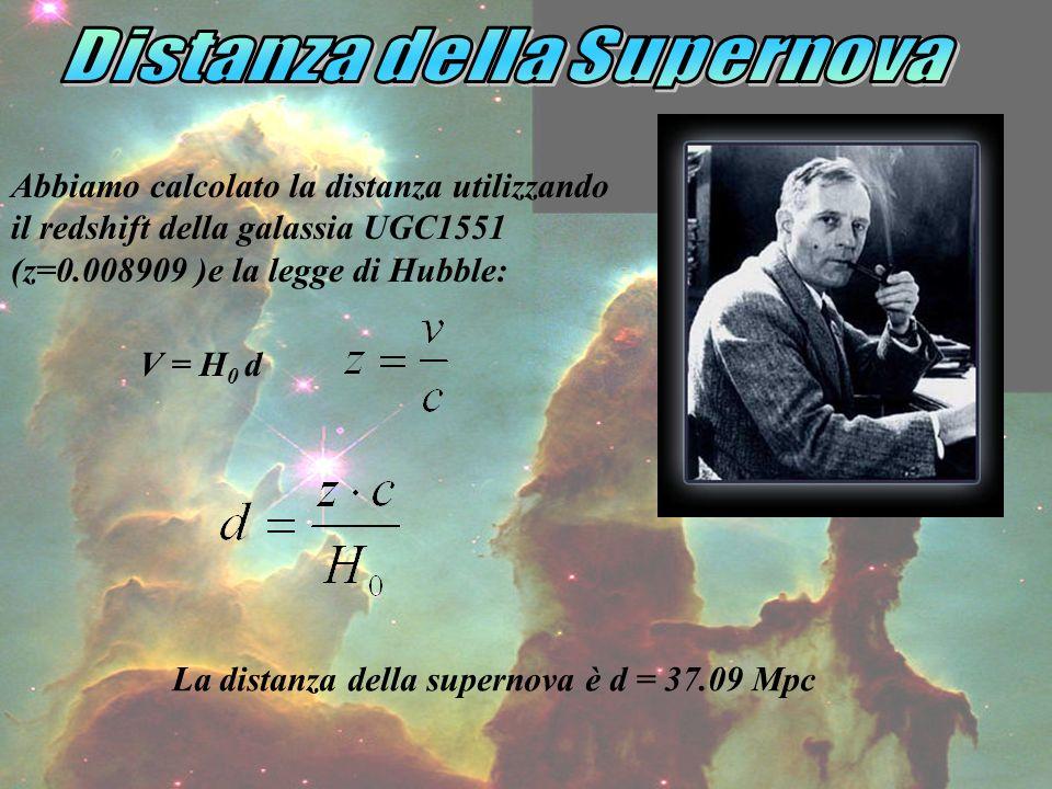 Abbiamo calcolato la distanza utilizzando il redshift della galassia UGC1551 (z=0.008909 )e la legge di Hubble: V = H 0 d La distanza della supernova è d = 37.09 Mpc