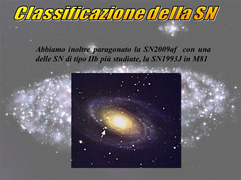 Abbiamo inoltre paragonato la SN2009af con una delle SN di tipo IIb più studiate, la SN1993J in M81