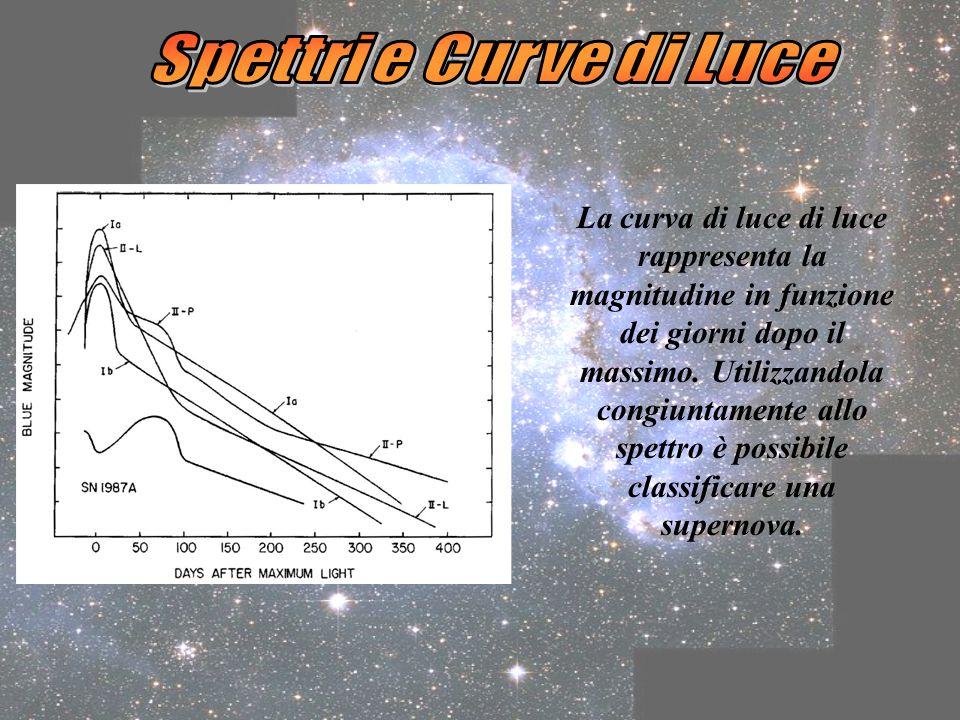 Le due classi principali in cui si dividono le Supernovae sono i tipi I e II, a seconda dellassenza o della presenza di linee di idrogeno nello spettro.