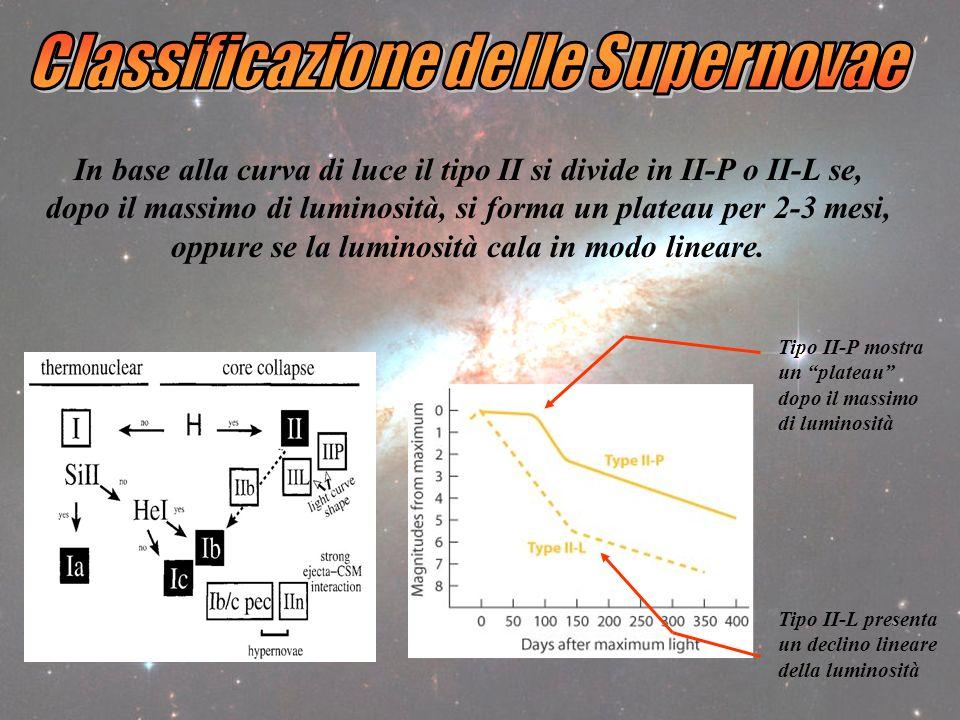 In base alla curva di luce il tipo II si divide in II-P o II-L se, dopo il massimo di luminosità, si forma un plateau per 2-3 mesi, oppure se la luminosità cala in modo lineare.