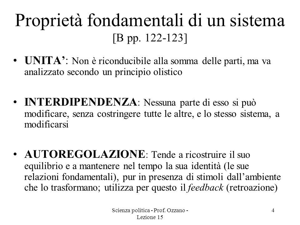 Scienza politica - Prof.Ozzano - Lezione 15 4 Proprietà fondamentali di un sistema [B pp.