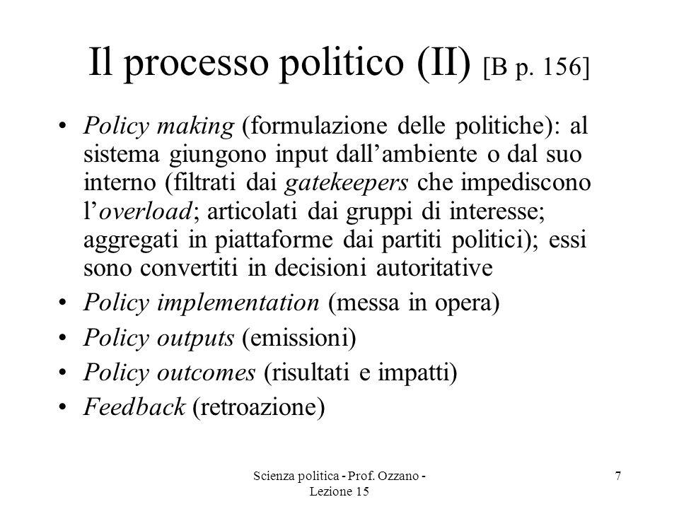 Scienza politica - Prof.Ozzano - Lezione 15 8 Tipi di input di sostegno [B pp.