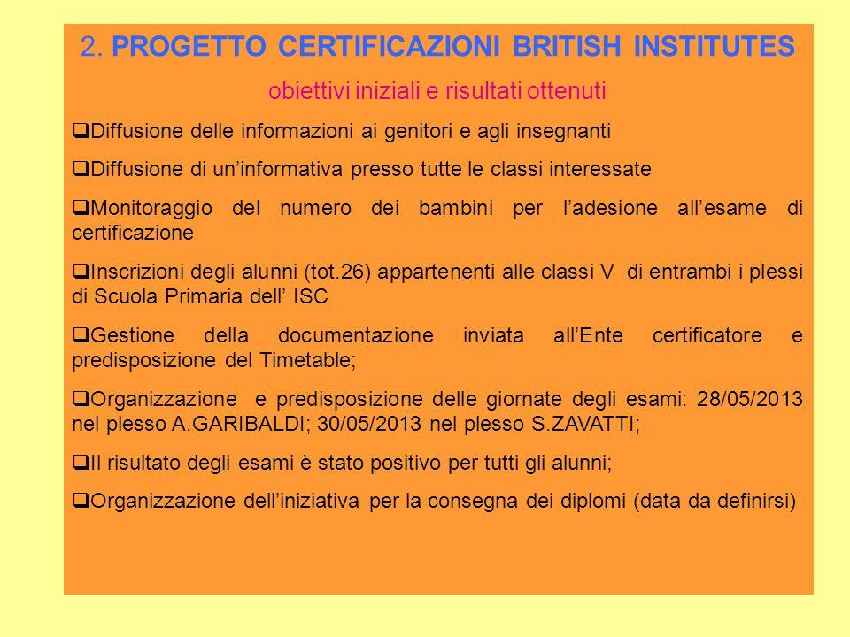 2. PROGETTO CERTIFICAZIONI BRITISH INSTITUTES obiettivi iniziali e risultati ottenuti Diffusione delle informazioni ai genitori e agli insegnanti Diff