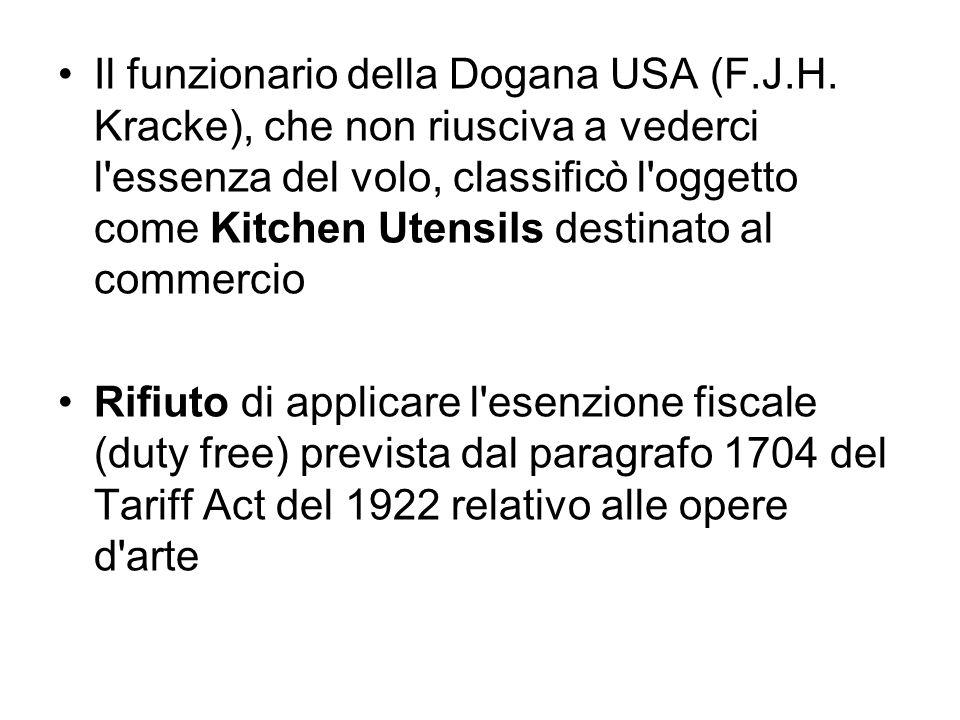 Il funzionario della Dogana USA (F.J.H. Kracke), che non riusciva a vederci l'essenza del volo, classificò l'oggetto come Kitchen Utensils destinato a