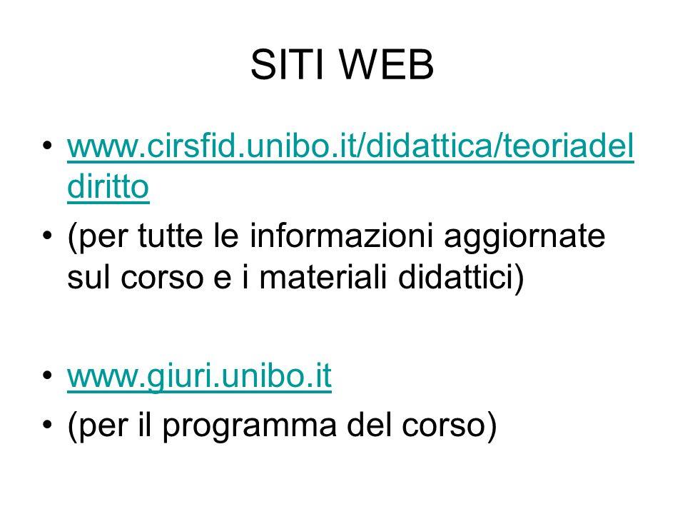 SITI WEB www.cirsfid.unibo.it/didattica/teoriadel dirittowww.cirsfid.unibo.it/didattica/teoriadel diritto (per tutte le informazioni aggiornate sul co