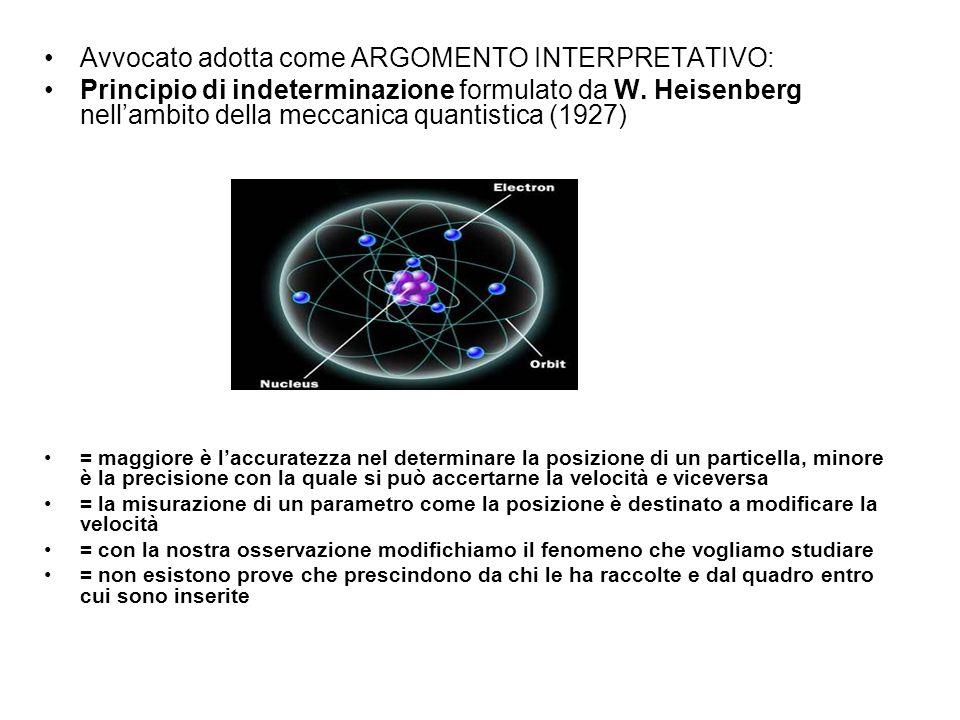 Avvocato adotta come ARGOMENTO INTERPRETATIVO: Principio di indeterminazione formulato da W. Heisenberg nellambito della meccanica quantistica (1927)