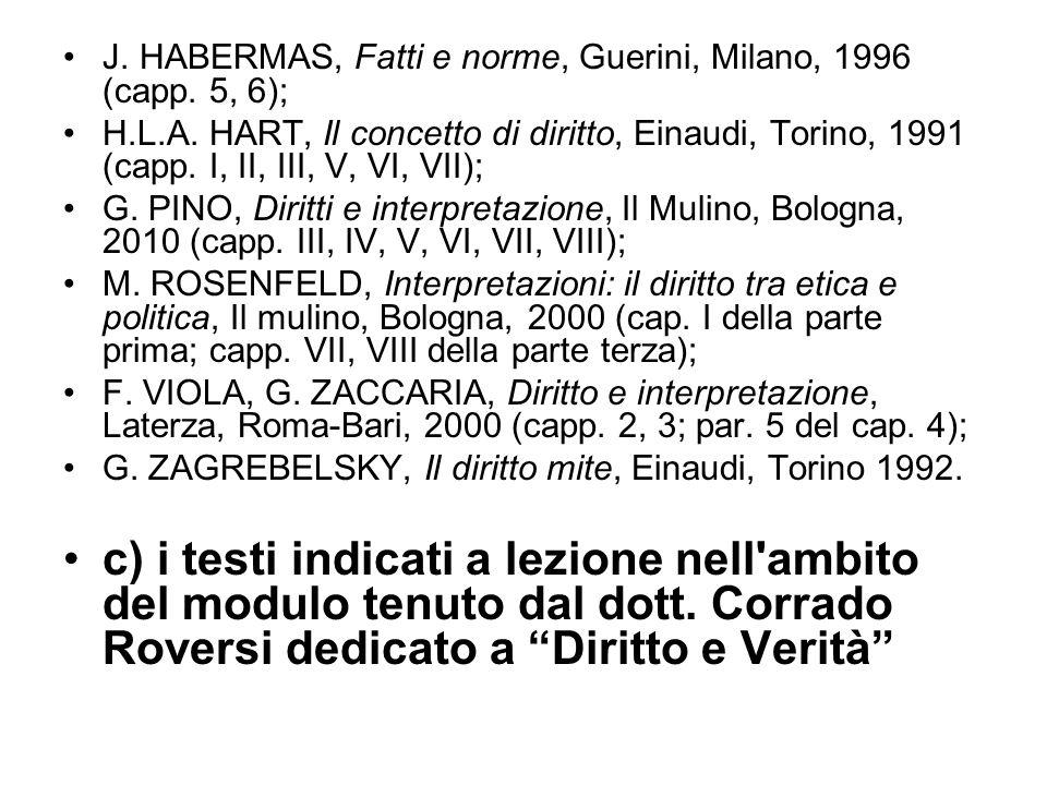 J. HABERMAS, Fatti e norme, Guerini, Milano, 1996 (capp. 5, 6); H.L.A. HART, Il concetto di diritto, Einaudi, Torino, 1991 (capp. I, II, III, V, VI, V