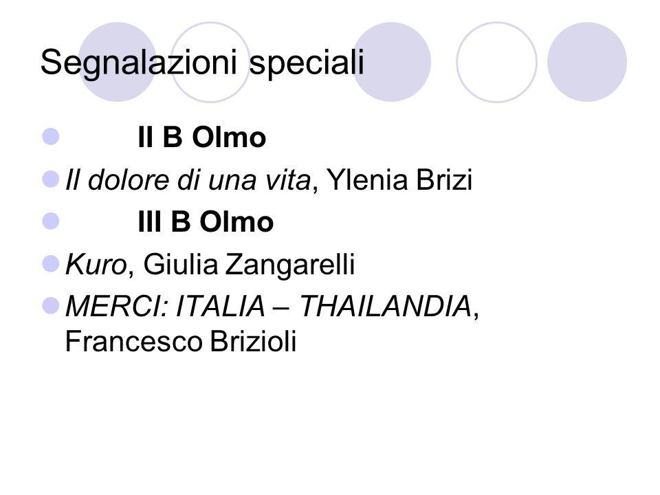 Segnalazioni speciali II B Olmo Il dolore di una vita, Ylenia Brizi III B Olmo Kuro, Giulia Zangarelli MERCI: ITALIA – THAILANDIA, Francesco Brizioli