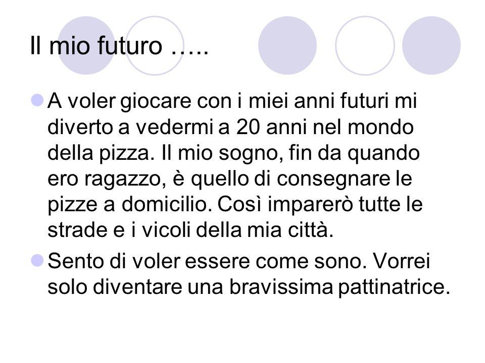 Il mio futuro ….. A voler giocare con i miei anni futuri mi diverto a vedermi a 20 anni nel mondo della pizza. Il mio sogno, fin da quando ero ragazzo