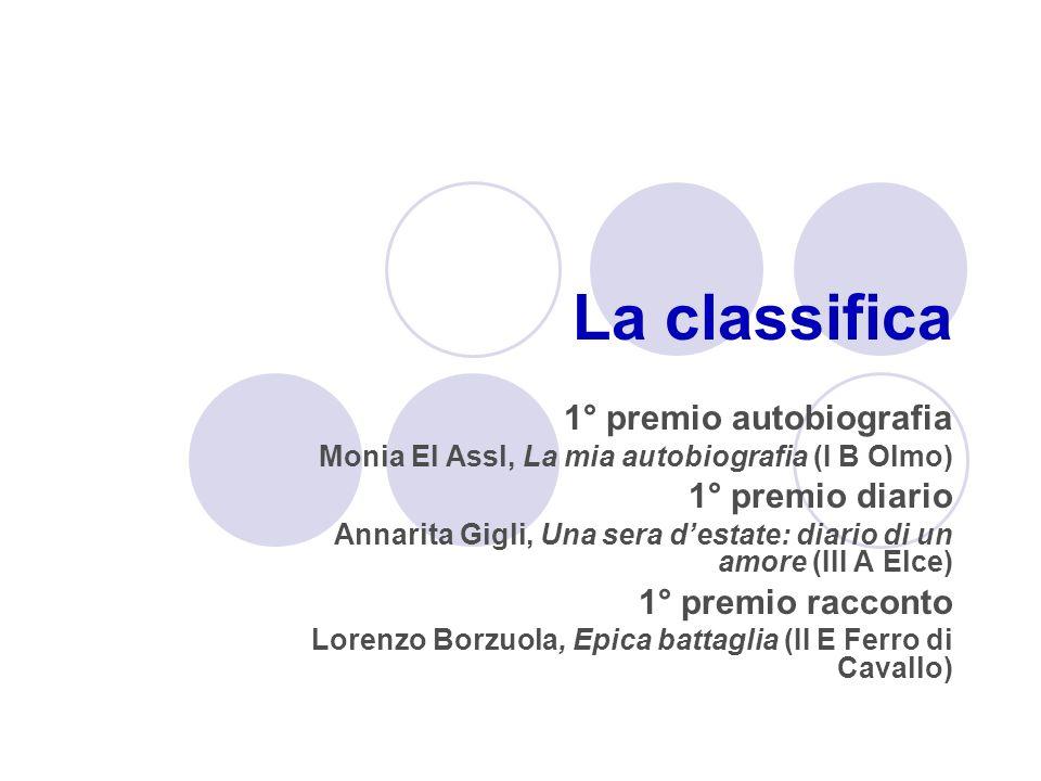 La classifica 1° premio autobiografia Monia El Assl, La mia autobiografia (I B Olmo) 1° premio diario Annarita Gigli, Una sera destate: diario di un a