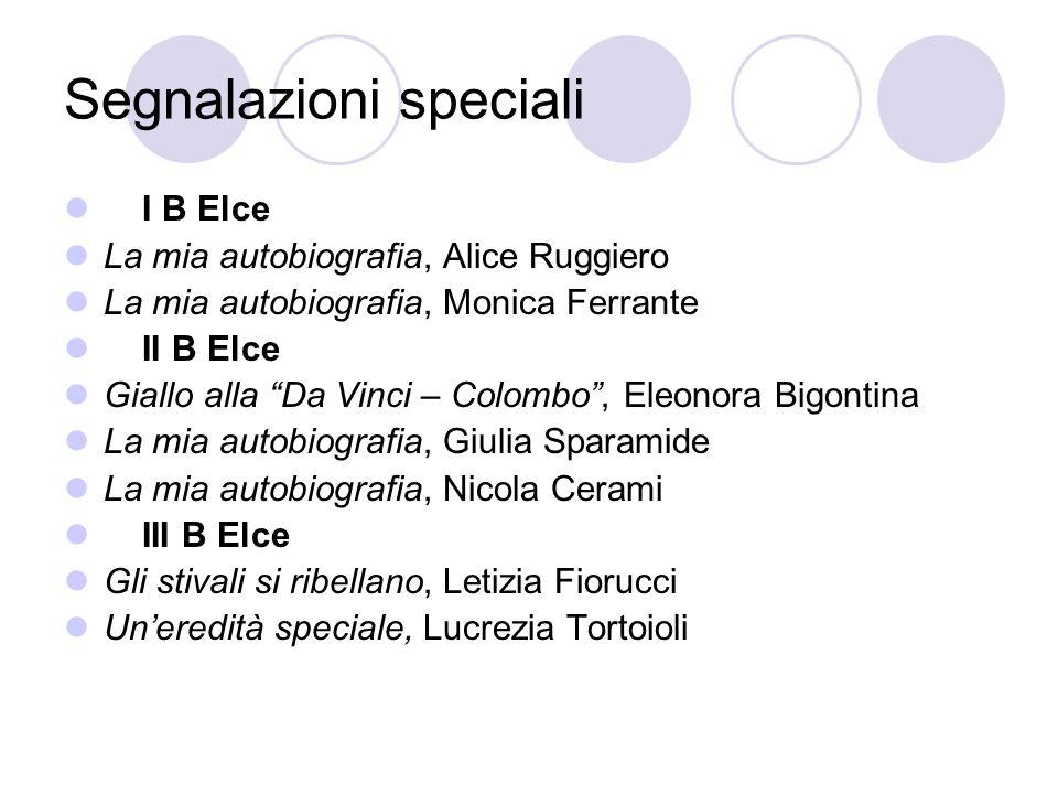 Segnalazioni speciali I B Elce La mia autobiografia, Alice Ruggiero La mia autobiografia, Monica Ferrante II B Elce Giallo alla Da Vinci – Colombo, El