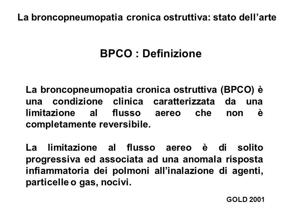 BPCO : Definizione La broncopneumopatia cronica ostruttiva (BPCO) è una condizione clinica caratterizzata da una limitazione al flusso aereo che non è completamente reversibile.