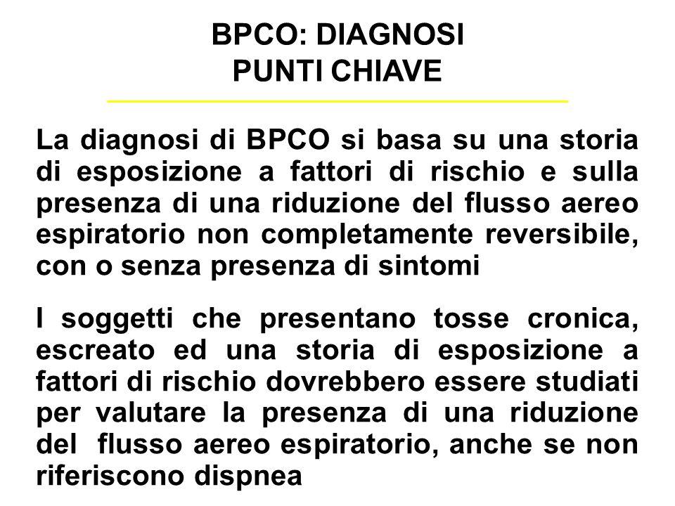 La diagnosi di BPCO si basa su una storia di esposizione a fattori di rischio e sulla presenza di una riduzione del flusso aereo espiratorio non compl