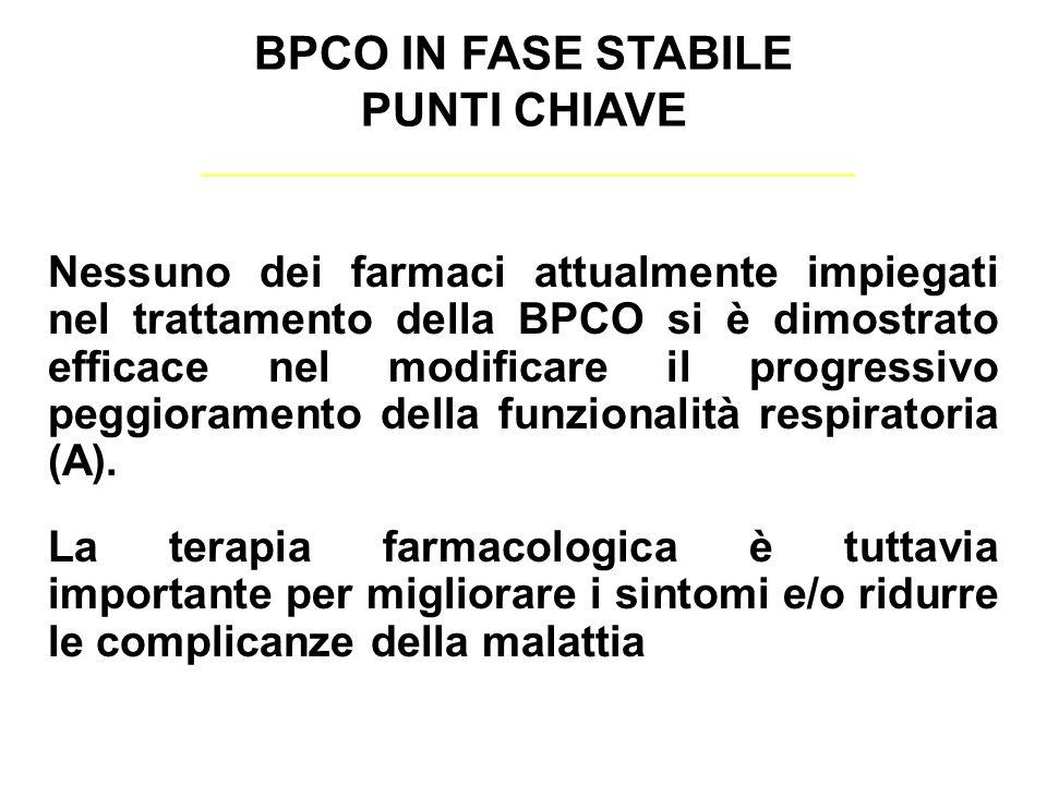 Nessuno dei farmaci attualmente impiegati nel trattamento della BPCO si è dimostrato efficace nel modificare il progressivo peggioramento della funzionalità respiratoria (A).