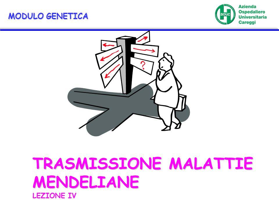 TRASMISSIONE MALATTIE MENDELIANE LEZIONE IV MODULO GENETICA