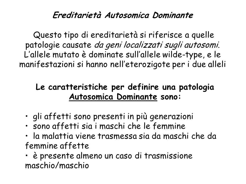Ereditarietà Autosomica Dominante Questo tipo di ereditarietà si riferisce a quelle patologie causate da geni localizzati sugli autosomi. Lallele muta