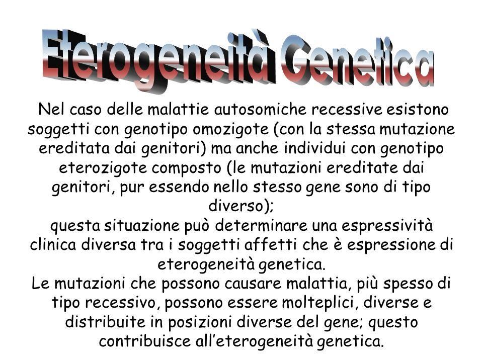 Nel caso delle malattie autosomiche recessive esistono soggetti con genotipo omozigote (con la stessa mutazione ereditata dai genitori) ma anche indiv