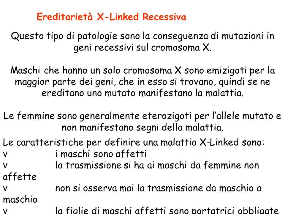 Le caratteristiche per definire una malattia X-Linked sono: v i maschi sono affetti v la trasmissione si ha ai maschi da femmine non affette v non si