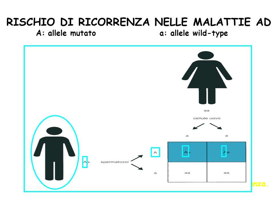 Ipotizzando che il partner dellaffetto abbia entrambi gli alleli normali (aa): 1 probabilità su 2 (50%) di avere figli affetti ad ogni gravidanza. Poi