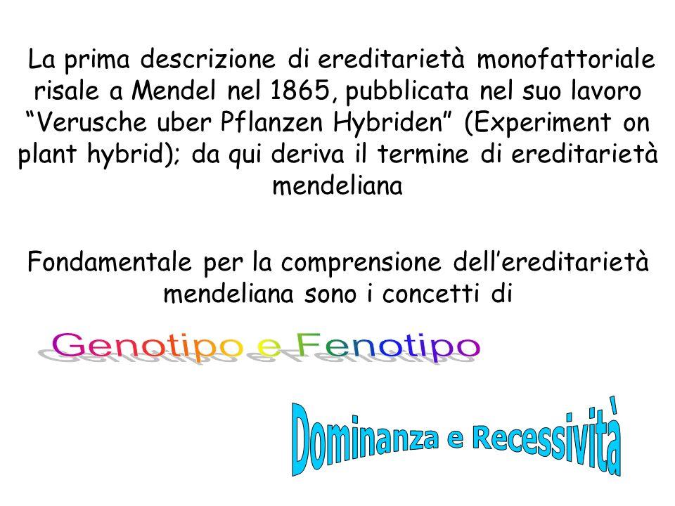 La prima descrizione di ereditarietà monofattoriale risale a Mendel nel 1865, pubblicata nel suo lavoro Verusche uber Pflanzen Hybriden (Experiment on