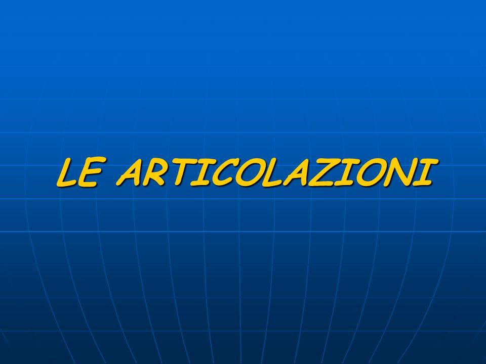 LE ARTICOLAZIONI Le articolazioni sono le strutture che collegano tra loro due o più ossa.