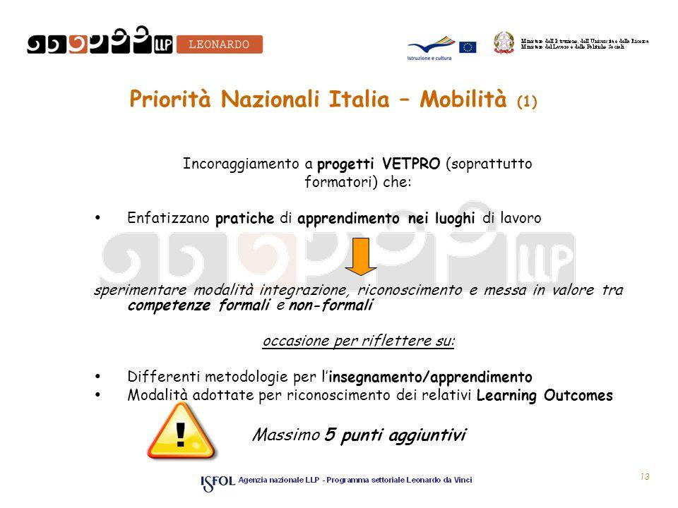 Priorità Nazionali Italia – Mobilità (1) Incoraggiamento a progetti VETPRO (soprattutto formatori) che: Enfatizzano pratiche di apprendimento nei luog