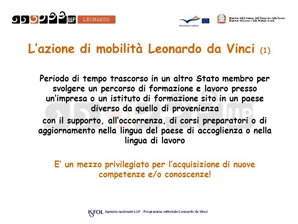 Lazione di mobilità Leonardo da Vinci (1) Periodo di tempo trascorso in un altro Stato membro per svolgere un percorso di formazione e lavoro presso u