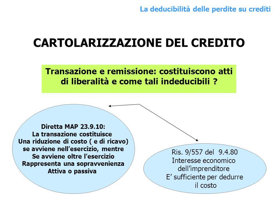 CARTOLARIZZAZIONE DEL CREDITO Transazione e remissione: costituiscono atti di liberalità e come tali indeducibili ? Diretta MAP 23.9.10: La transazion