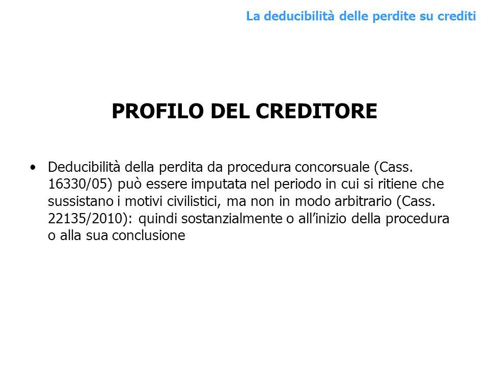 PROFILO DEL CREDITORE Deducibilità della perdita da procedura concorsuale (Cass. 16330/05) può essere imputata nel periodo in cui si ritiene che sussi