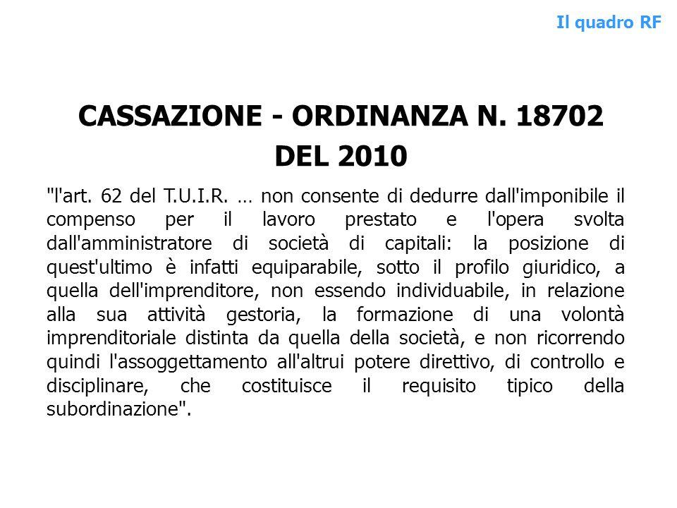 CASSAZIONE - ORDINANZA N. 18702 DEL 2010