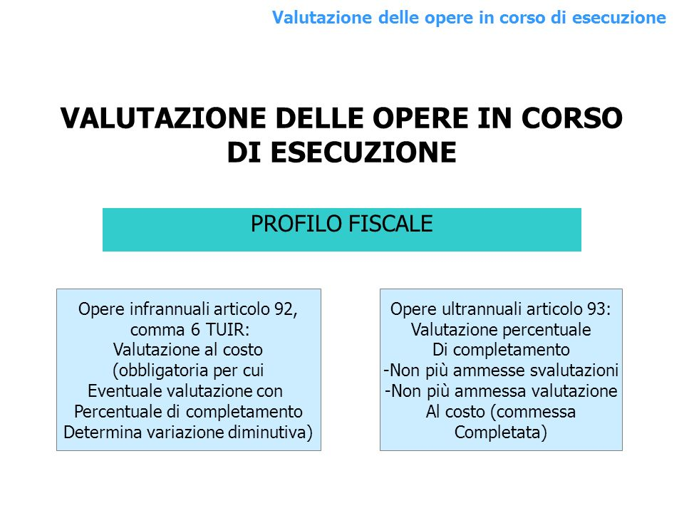 VALUTAZIONE DELLE OPERE IN CORSO DI ESECUZIONE PROFILO FISCALE Opere infrannuali articolo 92, comma 6 TUIR: Valutazione al costo (obbligatoria per cui