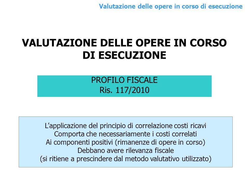 PROFILO FISCALE Ris. 117/2010 Lapplicazione del principio di correlazione costi ricavi Comporta che necessariamente i costi correlati Ai componenti po