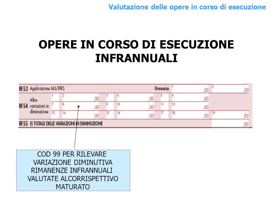 OPERE IN CORSO DI ESECUZIONE INFRANNUALI COD 99 PER RILEVARE VARIAZIONE DIMINUTIVA RIMANENZE INFRANNUALI VALUTATE ALCORRISPETTIVO MATURATO Valutazione