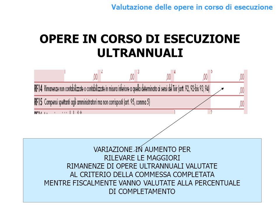 OPERE IN CORSO DI ESECUZIONE ULTRANNUALI VARIAZIONE IN AUMENTO PER RILEVARE LE MAGGIORI RIMANENZE DI OPERE ULTRANNUALI VALUTATE AL CRITERIO DELLA COMM