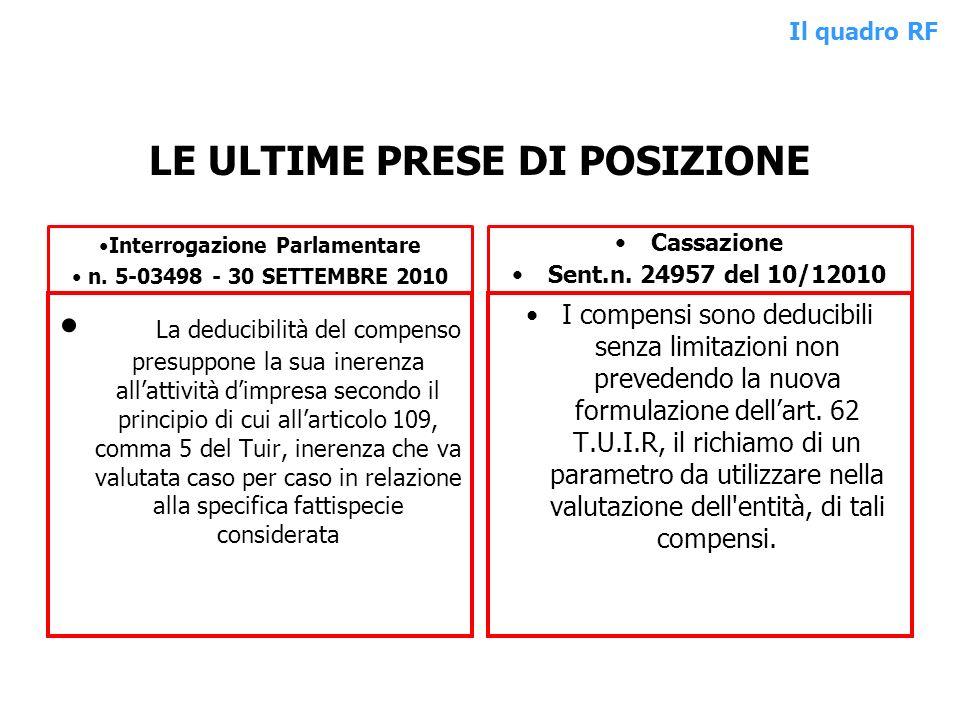 LE ULTIME PRESE DI POSIZIONE Interrogazione Parlamentare n. 5-03498 - 30 SETTEMBRE 2010 La deducibilità del compenso presuppone la sua inerenza allatt