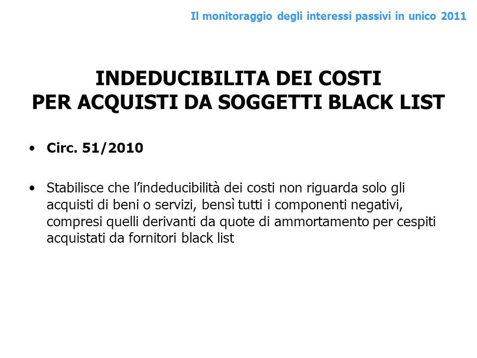 INDEDUCIBILITA DEI COSTI PER ACQUISTI DA SOGGETTI BLACK LIST Circ. 51/2010 Stabilisce che lindeducibilità dei costi non riguarda solo gli acquisti di