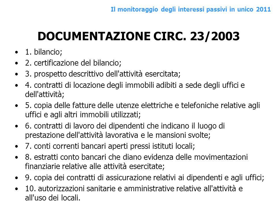 DOCUMENTAZIONE CIRC. 23/2003 1. bilancio; 2. certificazione del bilancio; 3. prospetto descrittivo dell'attività esercitata; 4. contratti di locazione
