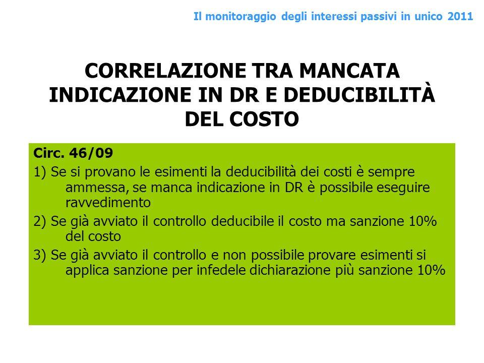 CORRELAZIONE TRA MANCATA INDICAZIONE IN DR E DEDUCIBILITÀ DEL COSTO Circ. 46/09 1) Se si provano le esimenti la deducibilità dei costi è sempre ammess