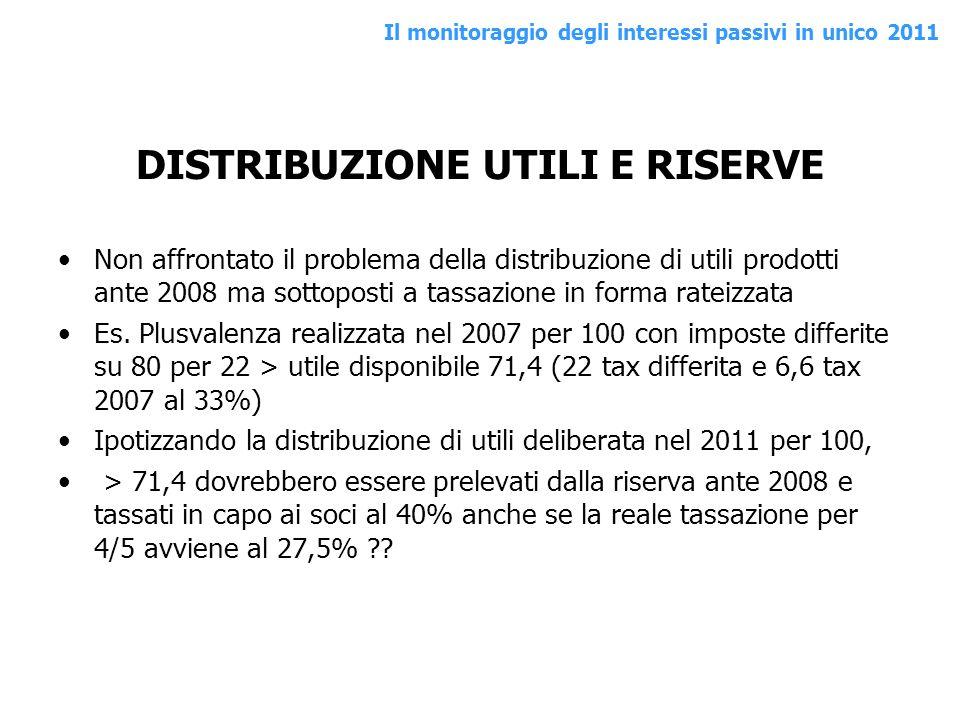 DISTRIBUZIONE UTILI E RISERVE Non affrontato il problema della distribuzione di utili prodotti ante 2008 ma sottoposti a tassazione in forma rateizzat